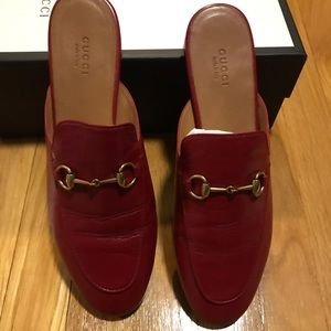Gucci Red Princetown Mules